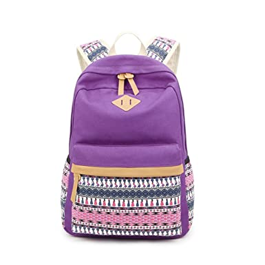 fbb95b931d88 Saumota Unique Ethnic Style Canvas School Bags Bookbags Travel Backpack- Purple