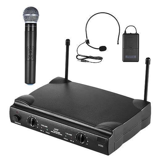 2 opinioni per ammoon Due canali sistema di microfoni microfono senza fili UHF con 1 corpo del