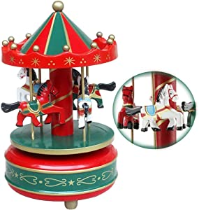 Romantic Carousel Music Box Merry-Go-Round Wooden Musical Box 4-Horse Figurine Rotating Handcraft Collection Home Decor Melody Christmas Valentine's Birthday Children Boys Girls Gifts Toy