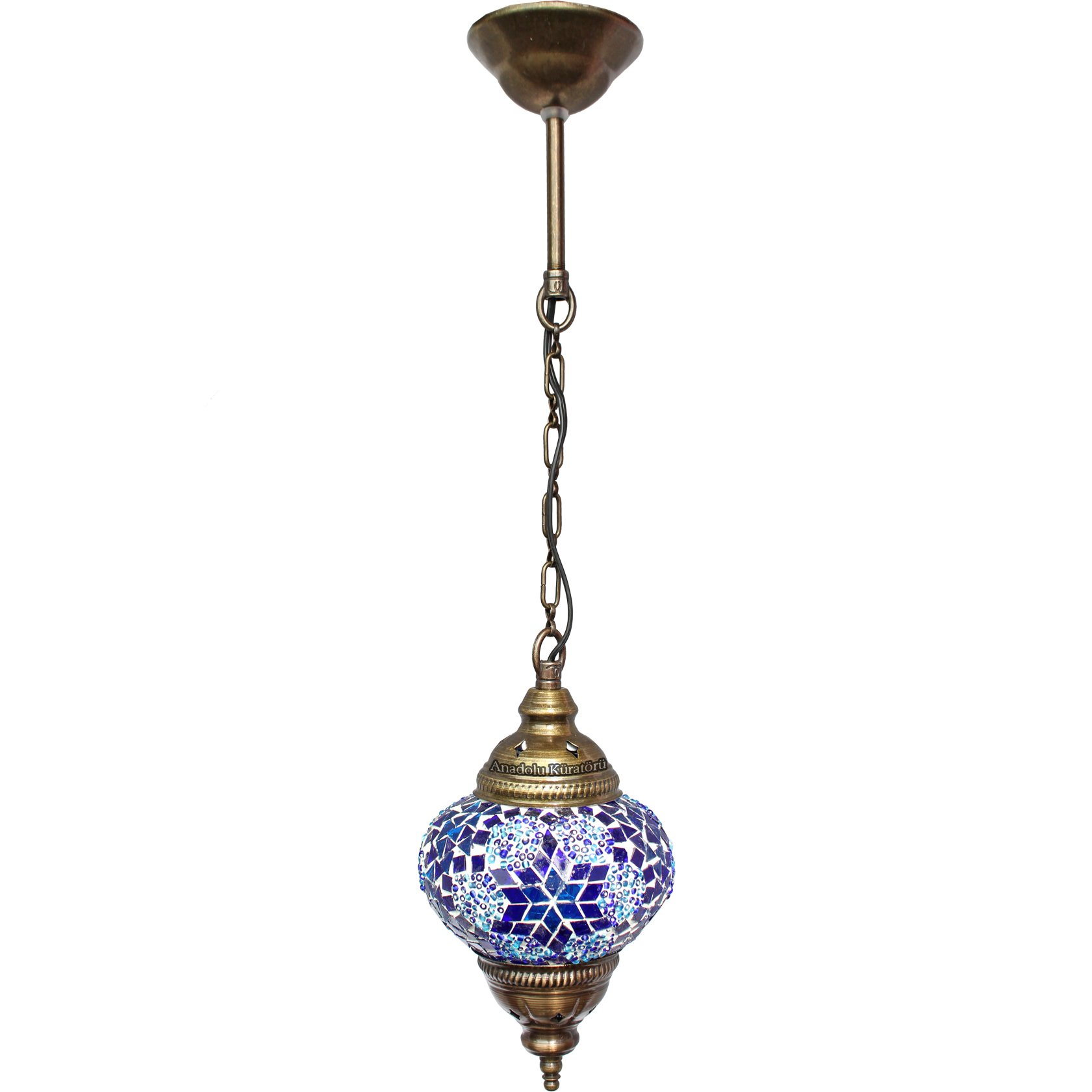 Ceiling Pendant Fixtures, Mosaic Lamps, Turkish Lamps, Hanging Lights, Moroccan Lanterns, Color Glass, Size 2, Blue, Arabian Nights