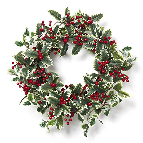 Holiday Holly and Berry Wreath for Front Door - Hanging Christmas Decoration