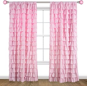 Kotile Pink Ruffle Curtain for Girls Bedroom - Rod Pocket Gypsy Ruffled Curtain Panel 72 Inch Length for Windows Soft and Light Shabby Chic Drape, 52 x 72 Inch, 1 Panel, Pink