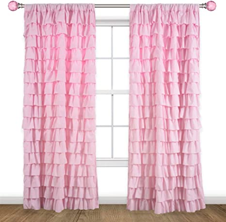 Hillcrest Kids Ruffle Tiered Window Curtain Panel Drapes Pink Chic Princess