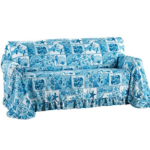Coastal Décor Blue Ruffled Furniture Throw Cover for Living Room, Blue, Sofa