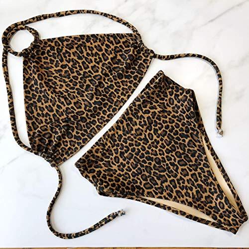 Women's leopard high waist halter bathing suit retro - Lucy Halter