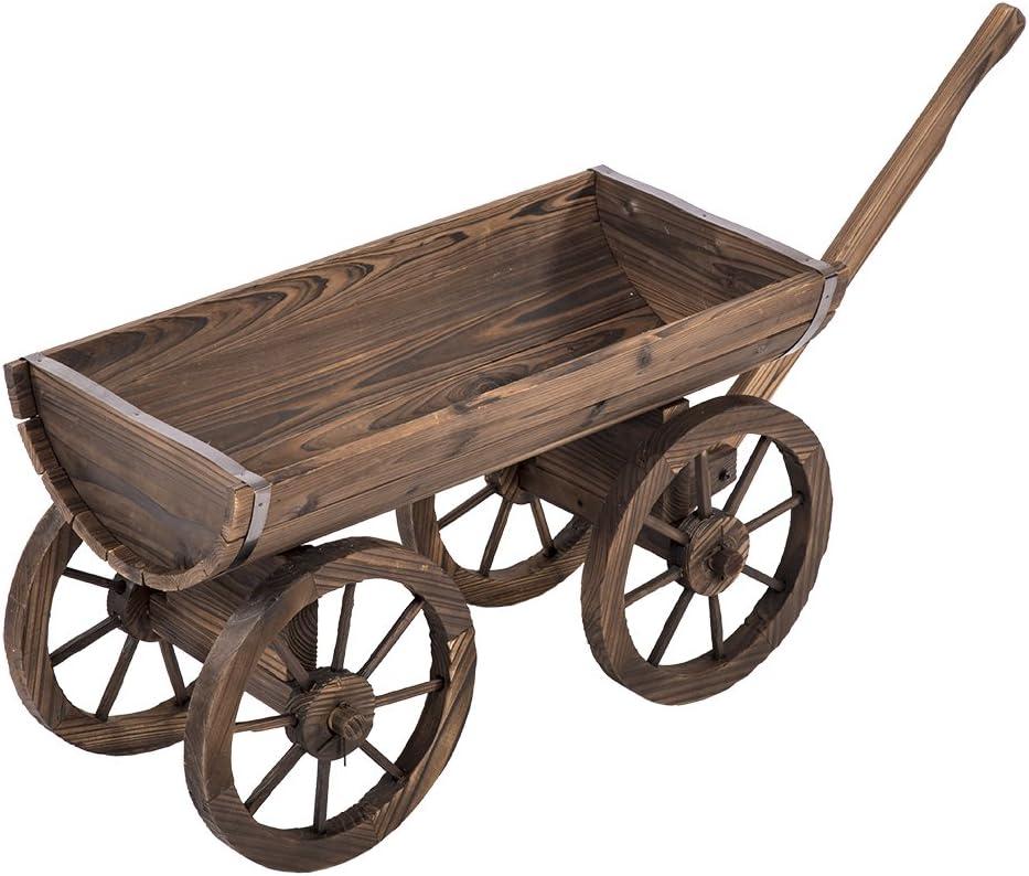 BestMassage Wooden Wagon Cart Garden Flower Planter Patio Wheels Pot Stand Holder Home Outdoor Backyard Decor
