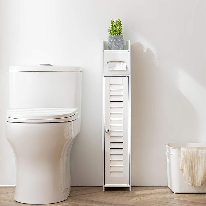 Amazon Com Huidao Bathroom Floor Cabinet Wooden Corner Cabinet Toilet Side Organizer Storage Cabinet With Door Shelf And Paper Holder White Home Kitchen,Mint And Lavender Color Scheme