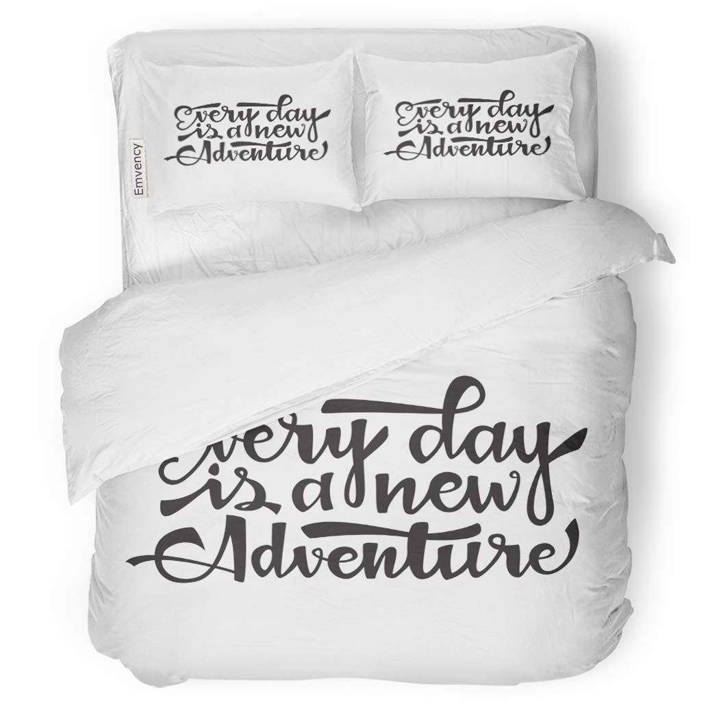 SanChic Duvet Cover Set Every Day is New Adventure Inspirational Quote About Decorative Bedding Set with 2 Pillow Shams Full/Queen Size