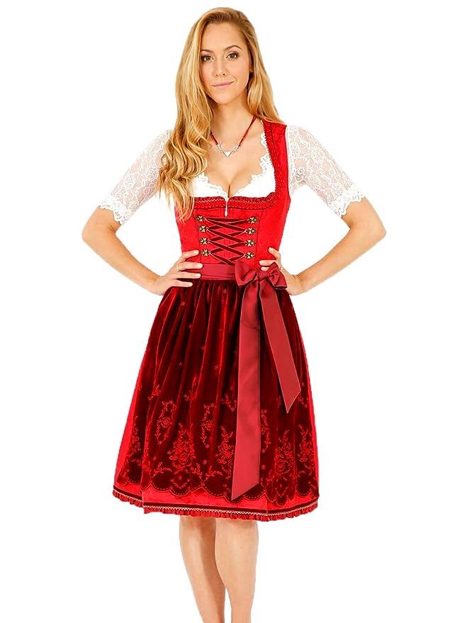 Krüger Dirndl Madl Favourite 50er Länge rot Größe 34 bis 42 Kleid Trachten NEU