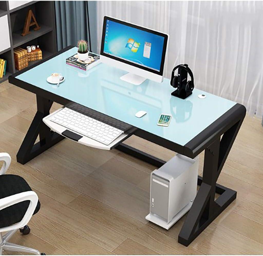 パソコンデスク コンピュータデスク家具/強化ガラスパソコンデスクデスク、X字状のスチールフレーム、ホームオフィスのパソコンデスク、ワークステーション、 (Color : B)