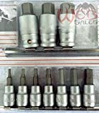 "Socket Wrenches 12pc 3/8"" & 1/2"" Drive Hex Bit Allen Wrench Socket Set SAE on Snap in Rails NEW"