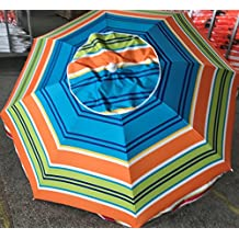 KoolQuest Beach Umbrella Set 2 Mtr / 6.56 ft with built in Sand Anchor , Heavy Duty Telescopic Pole , Push Tilt , Silver Coated UPF 50+ Polyester Fabric , Air Vent & Carry Bag (Stripes Pattern D)