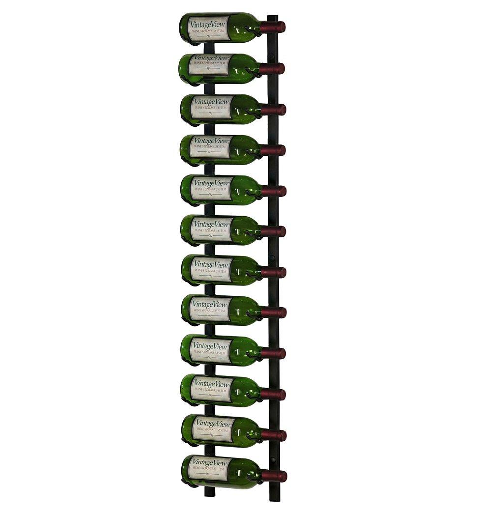 VintageView 12 Bottle Wall Mounted Metal Wine Rack (1 Deep - Black)