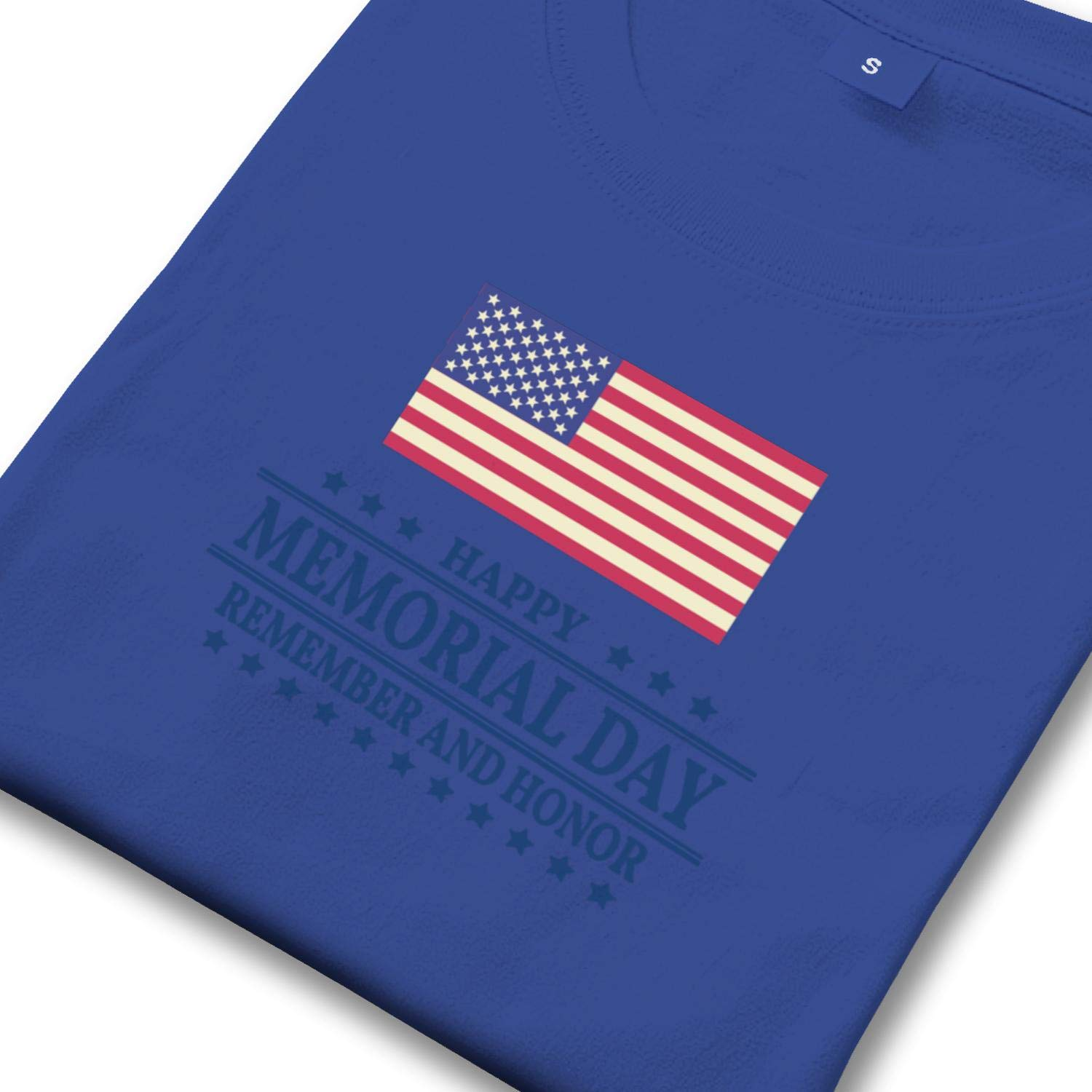 ZJKVBA Happy Memorial Day Flag Remember Honor Mens Short-Sleeves Awesome Loose-Fit T Shirt Awesome Tee for Men