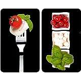 WENKO 2521451100 Cubierta de cocina Universal Caprese - juego de 2 piezas para todos los tipos de cocinas, Vidrio endurecido, 30 x 1.8-4.5 x 52 cm, Multicolor