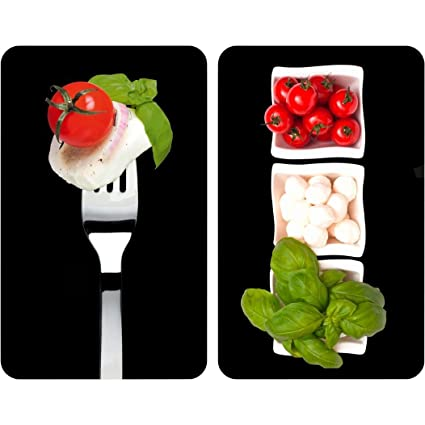 WENKO 2521451100 Cubre vitro de cocina Universal Caprese - juego de 2 piezas para todos los tipos de cocinas, Vidrio endurecido, 30 x 1.8-4.5 x 52 cm, ...
