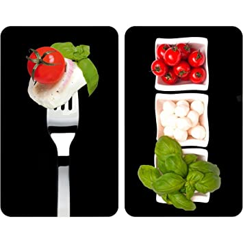 WENKO 2521451100 Universal cover plates Caprese - set of 2, for all types of cookers, Tempered glass, 11.8 x 0.7 x 20.5 inch, Multicoloured