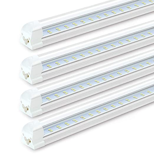 8FT LED Shop Lights Fixture - 72W, 7200LM, 6000K Cool White, Flat Dual Row  T8 Integrated LED Tube Strip Lights, High Output Bulb for Garage,