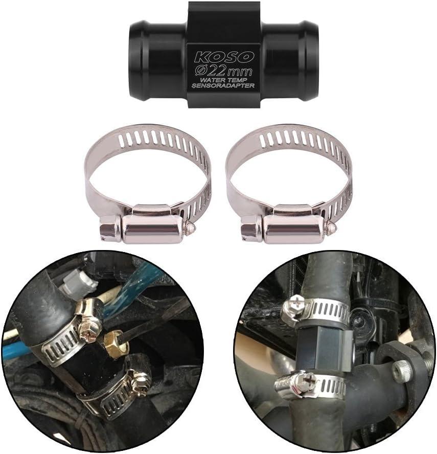 Motorrad Temperatursensor Adapter Wassertemperatur Temperatur Joint Rohr Sensor Gauge Kühlerschlauch Adapter Schwarz 22mm Auto