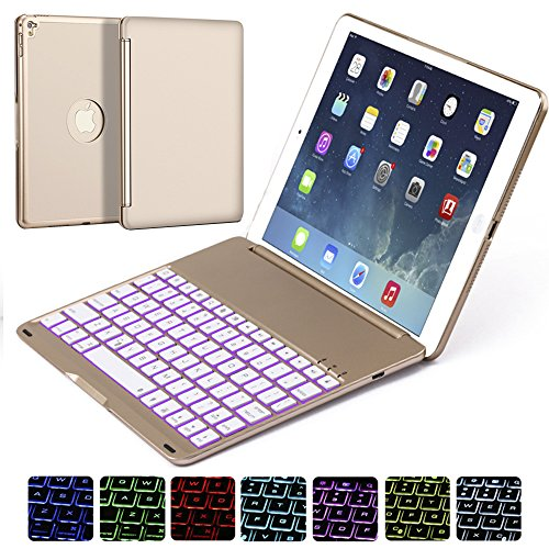 Ipad Pro 9.7 Keyboard Case, NOVT Aluminum Alloy Ultra Thin Smart Bluetooth Wireless Keyboard 7 Color Led Backlit with Protective Case Cover Stand Auto Sleep/Wake for Apple iPad Pro 9.7 Inch (Gold) by NOVT (Image #6)'