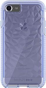 tech21 Evo Gem Drop Proof Protective Case for iPhone 8 / iPhone 7 / iPhone 6 / iPhone SE 2020 - Ultra Thin Clear Back, Anti-Scratch - Lilac - Bulk Packaging