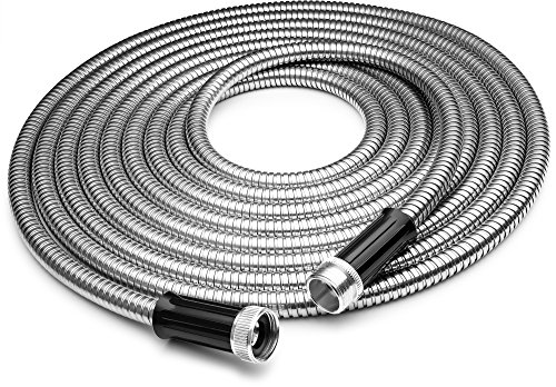 Tiabo Metal Garden Hose 50ft 304 Stainless Steel Super Flexible Cool to The Touch All Weather Hose ()