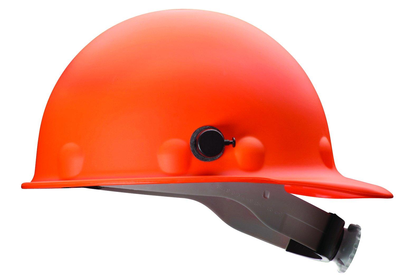 Fibre-Metal by Honeywell P2AQRW46A000 Super Eight Fiber Glass Cap Style Ratchet Hard Hat with Quick-Lok, Hi-Viz Orange