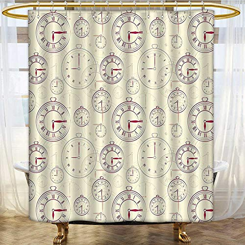 (Shower Curtains Sets Bathroom Watches with Roman Digits Wallpaper Ative Cream Maroon Satin Fabric Sets Bathroom W54 x H84 inch )