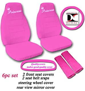 Hot Pink Princess Seat Covers Steering Wheel Cover Belt