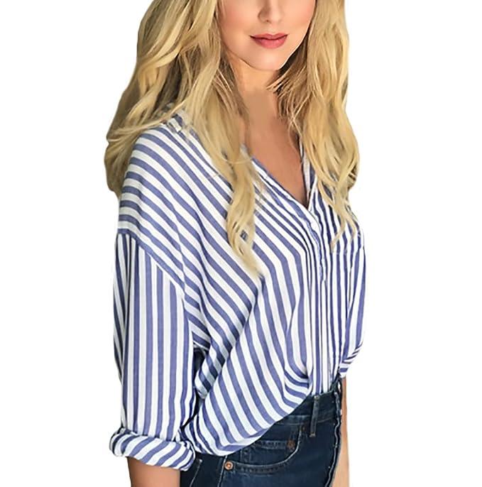 Camisas Mujer Manga Larga Cuello Solapa Anchas Moda Fashionista Rayas Azul Elegantes Classic Retro Hippie Casual Oficina Otoño E Invierno Blusa Blusas Tops: ...