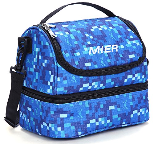 MIER Double Decker Insulated Lunch Box Soft Cooler Bag Thermal Lunch Tote with Shoulder Strap (Blue) ()