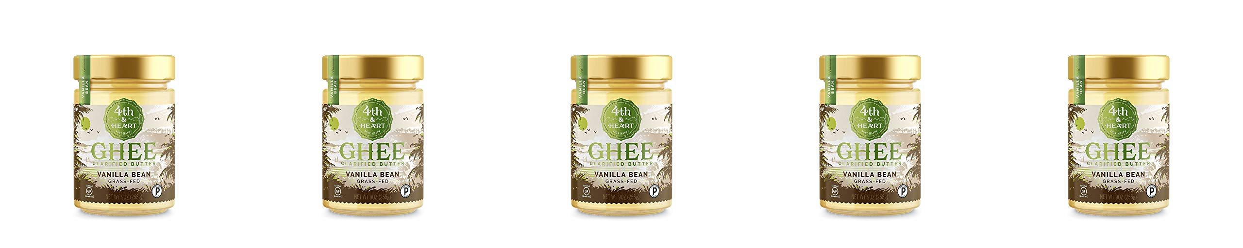 Vanilla Bean Grass-Fed Ghee Butter by 4th & Heart, 9 Ounce, Pasture Raised, Non-GMO, Lactose Free, Certified Paleo, Keto-Friendly - 5 Pack by 4th & Heart (Image #1)
