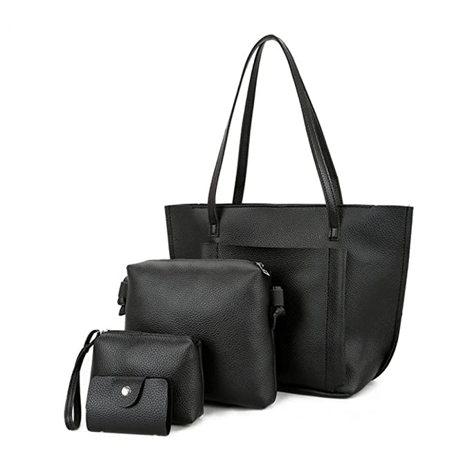 d26a36cb4c Amazon.com  4pcs Set Tote Handbag Women Faux Leather Cross Body Shoulder  Bag Handbag Card Holder Clutch (Black)  Clothing