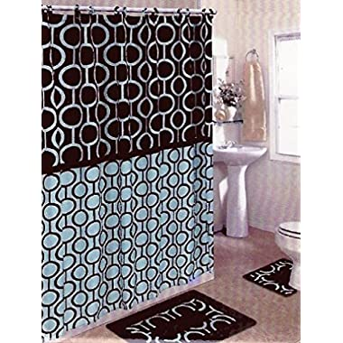 Brown & Blue 15-piece Bathroom Set Bath Rugs Shower Curtain & Rings