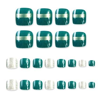 24 piezas de uñas postizas de pie para uñas de pies, bonitos dedos de los