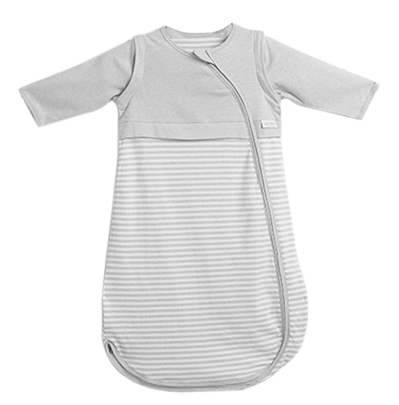 LETTAS Baby Girls 100% Cotton Stripe Removable Sleeve Sleeping Bag 0.5 Tog - Soft Wearable Blanket Grey (12-24 Months)