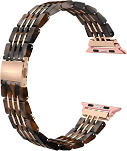 Wearlizer Womens Compatible with Apple Watch Band 38mm 40mm for iWatch SE Resin Unique Wristband Metal Stainless Steel 3-line Strap Bracelet Replacement Series 6 5 4 3 2 1-Tortoise+Deep Rose Gold