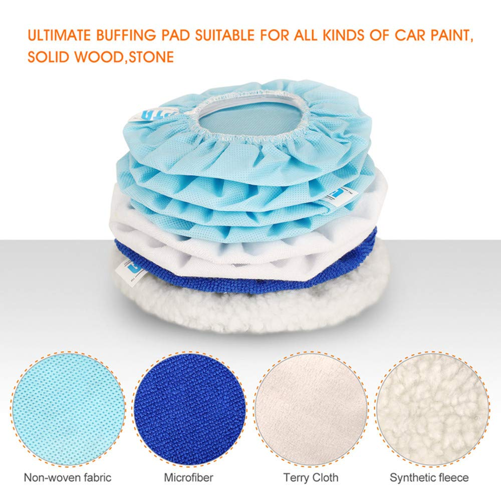 SPTA 5pcs 6inch Terry Cloth Polishing Bonnet Buffer Pad Car Polisher Pad Cover for Car Paint Care Waxing Polishing