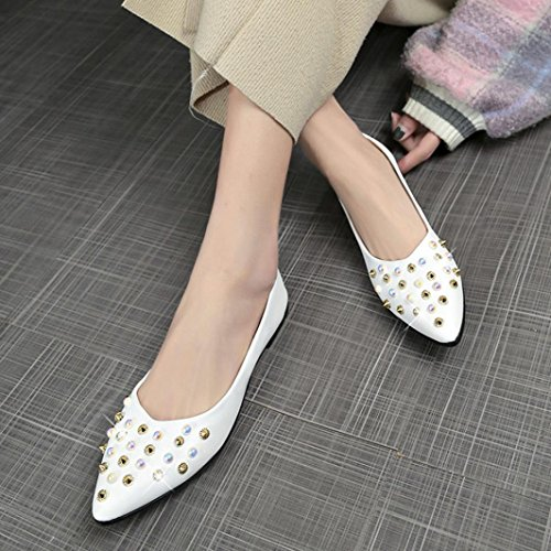 Bianco Tacco Mmc Basse Casual Decorazione Scarpe Quadrato Sandali Piuttosto Molla Donna Rivetto qxFZYwPw