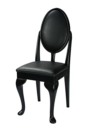 High Street Design Black Dressing Table/Bedroom Chair With Queen Anne Legs  And Black Faux