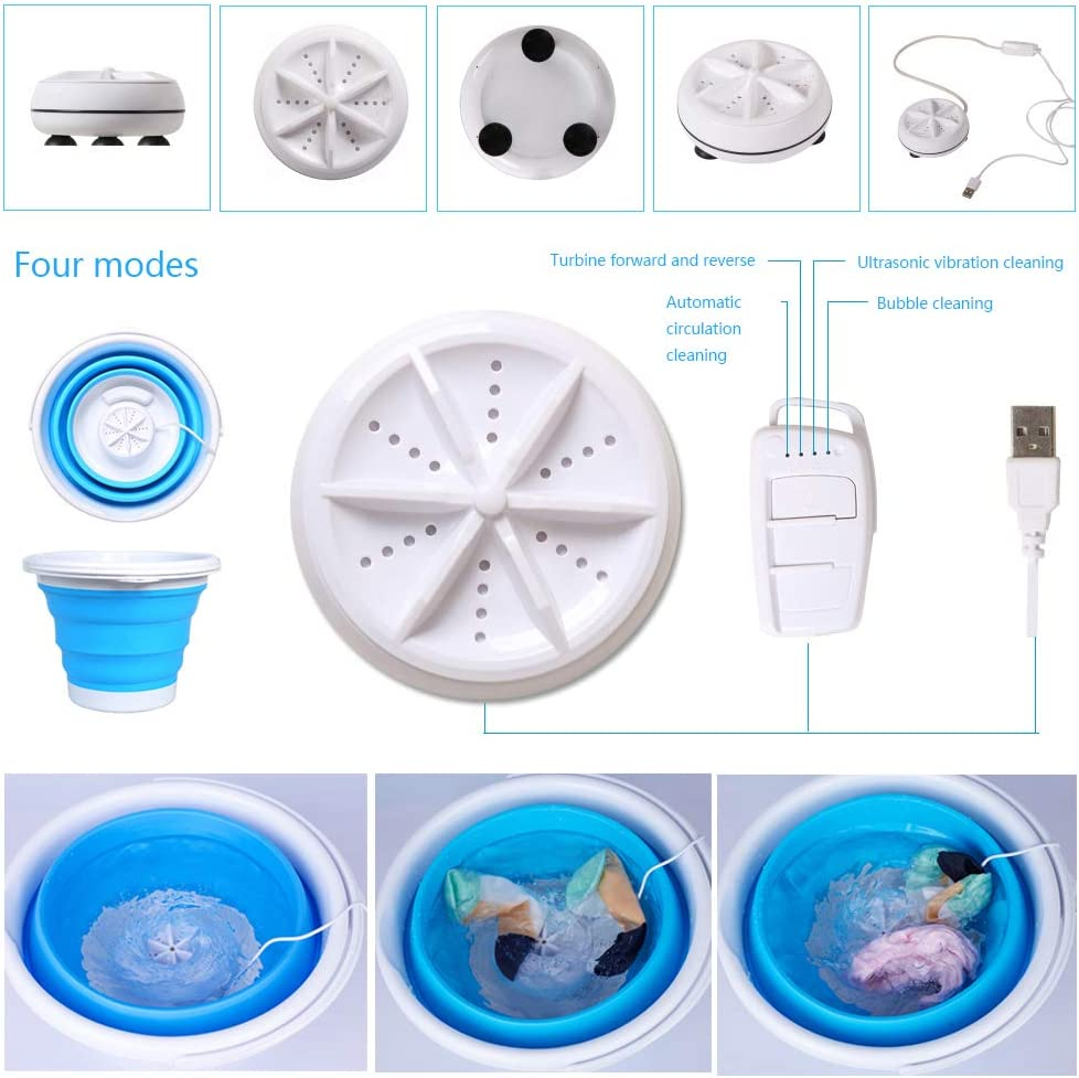 Mini Washing Machine Formemory Portable Folding Bucket Turbo Ultrasonic Washing Machine Personal Travel Washing Machine with Remote Control for Lazy Magic Laundry Machine(Blue)