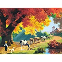 Close of the Day - Autumn Farm Cow Puzzle - 300 Piece Jigsaw Puzzle by SunsOut
