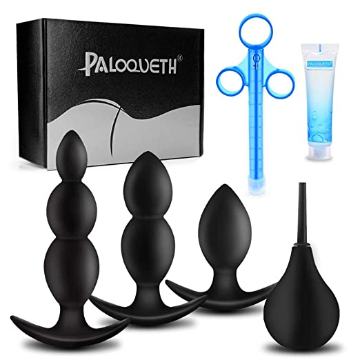 PALOQUETH Silicone Anal Plug Toy Kit Anal Beads for Comfortable Long-Term Wear 3 Small Butt Plugs