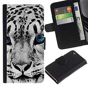 """Apple iPhone 4 / iPhone 4S , la tarjeta de Crédito Slots PU Funda de cuero Monedero caso cubierta de piel ("""" Snow Leopard Winter Big Cat Blue Eyes White"""")"""