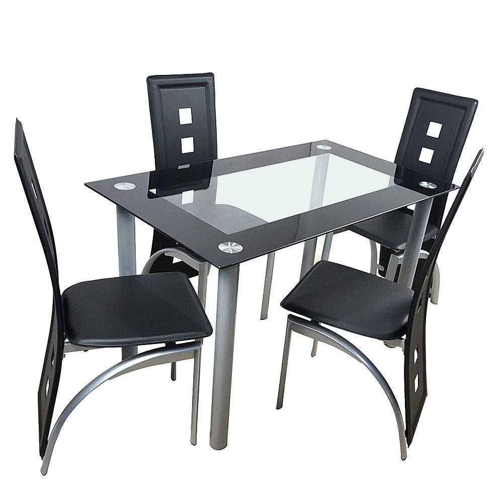 Cypressshop Dining Set Kitchen Table Chairs Metal Structure Top Tempered Glass 4 Chairs Home Breakfast Eating Dinner Furniture Set of 5 Pieces