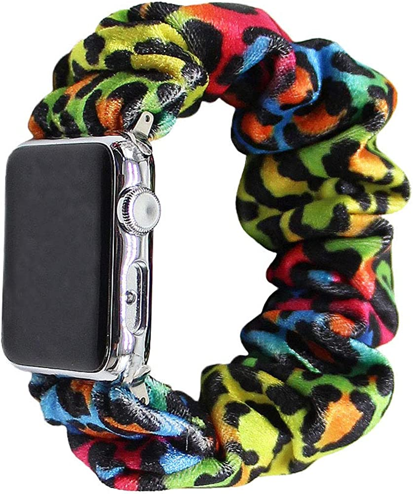 Sanimove Compatible with Apple Watch Band Scrunchies 38mm 40mm 42mm 44mm Women Girls Leopard Cloth Hair Rubber Band Strap Bracelet for iwatch Series SE 6 5 4 3 2 1
