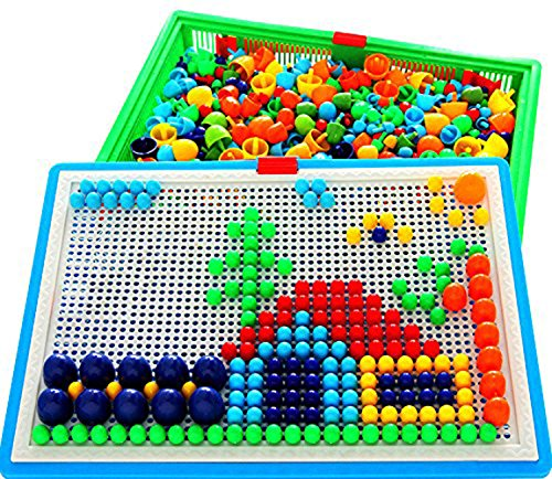 Vidatoy 296 Pcs Mushroom Nails Peg Puzzles Jigsaw Puzzle Creative Mosaic Pegboard Educational Toys (Random (Mosaic Puzzle)