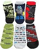 HYP Big Boys' Star Wars 6 Pack Low Socks Shoe Size 5-9 Yoda R2-D2 Vader