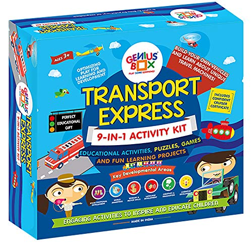 Genius Box Transport Express Toddler kit | 9 in 1 Creative DIY Activity Kit | Puzzles Game for Over 3 Years Kids | Fun Learning Toys | Education Toys Gift