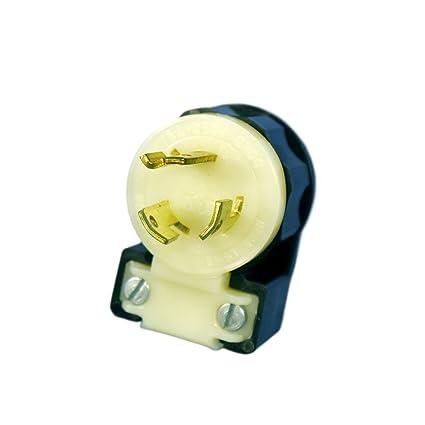 Leviton 4570-CA L6-15P Angle Locking Plug Industrial - Black-White on